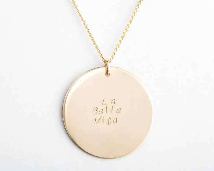 large gold disc personalized long layering necklace