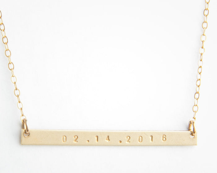 extra long skinny date bar necklace