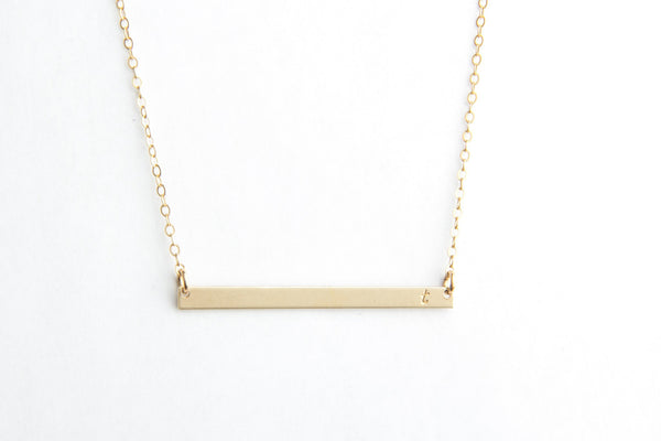 long skinny gold bar initial necklace pixley pressed