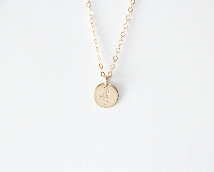 flamingo disc necklace gold filled pixley pressed