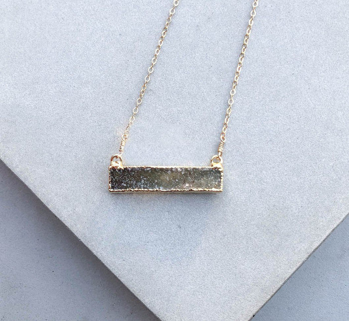 forest druzy bar necklace