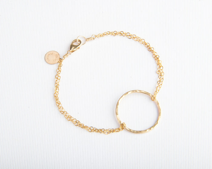 gold circle bracelet pixley pressed