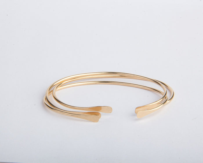 gold filled open bangle bracelets set of three pixley pressed