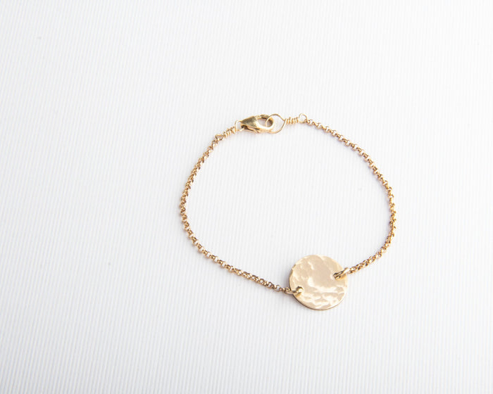 hammered gold round disc bracelet