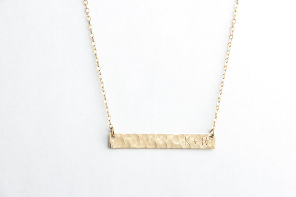 hammered gold long bar initial necklace pixley pressed