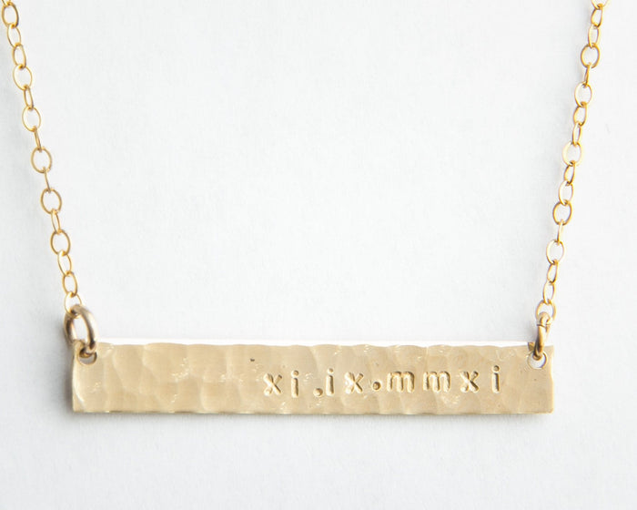 hammered gold bar roman numeral date necklace pixley pressed