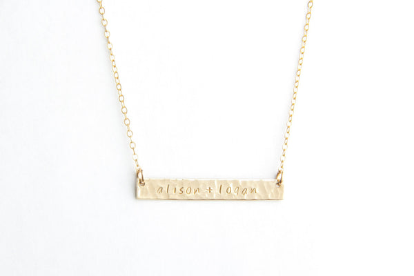 hammered gold long bar name necklace pixley pressed