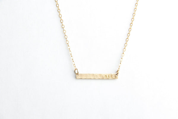 mini hammered gold bar name necklace