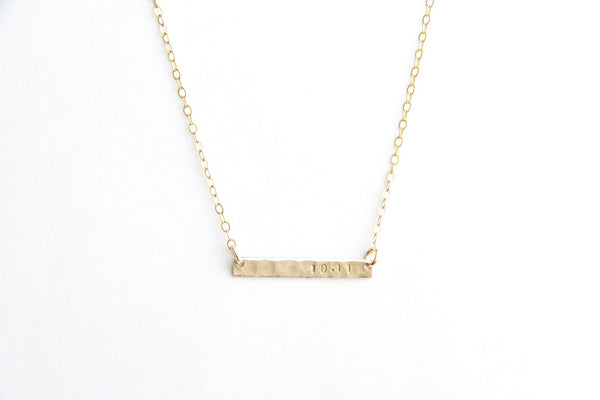 mini hammered gold bar date necklace