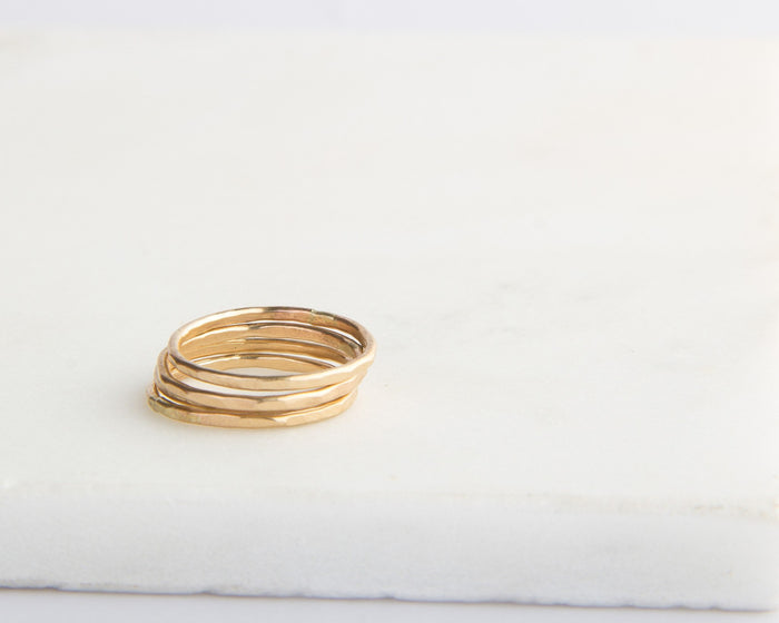 gold filled hammered ring set