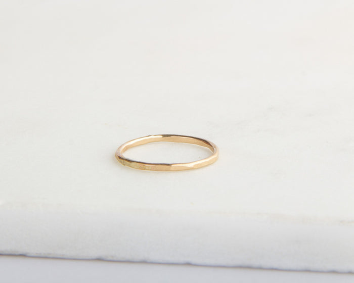 hammered gold ring pixley pressed