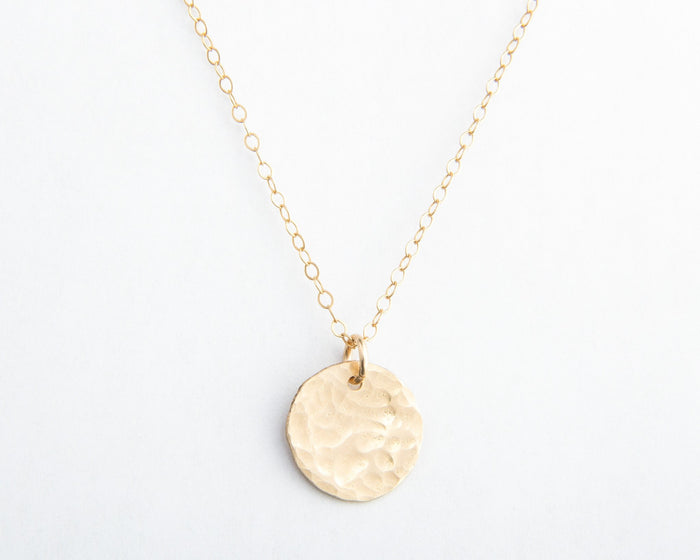 hammered gold round disc initial necklace pixley pressed
