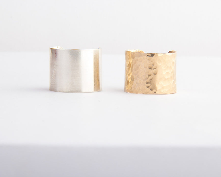 gold hammered cuff ring silver smooth curff ring