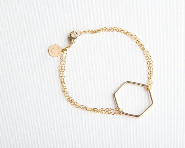 gold hexagon bracelet pixley pressed
