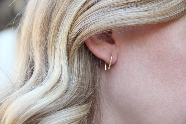 gold u horseshoe earrings pixley pressed handmade jewelry