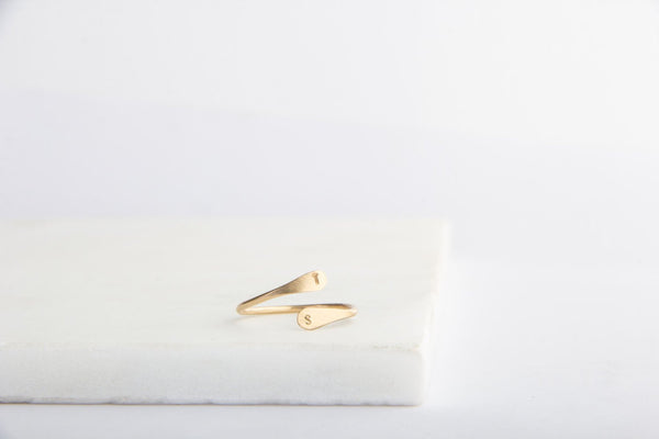 gold double initial ring