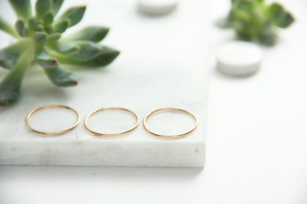 set of three gold stacking rings pixley pressed