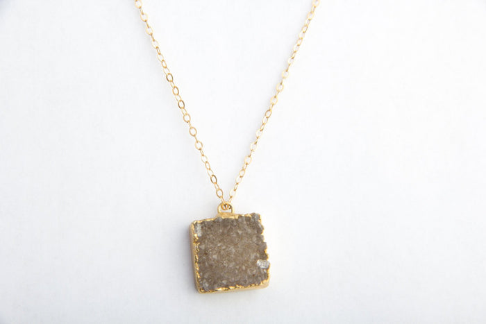 Raw Umber Druzy Crystal Necklace