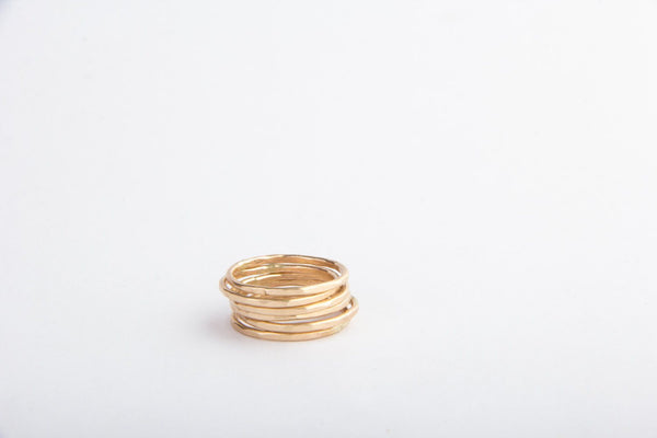 gold filled hammered stacking rings pixley pressed