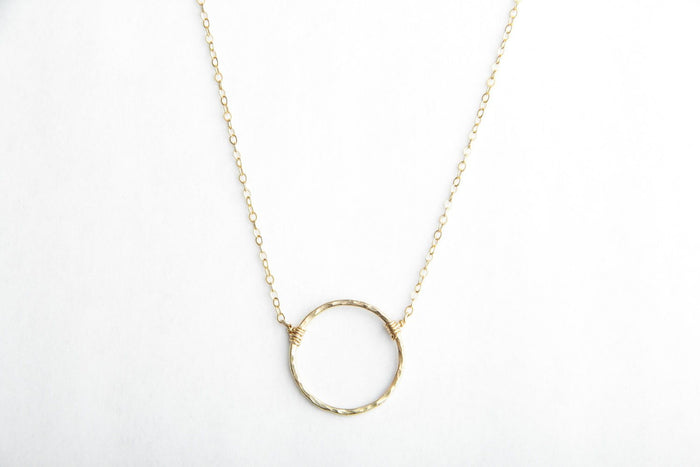 gold circle eternity necklace