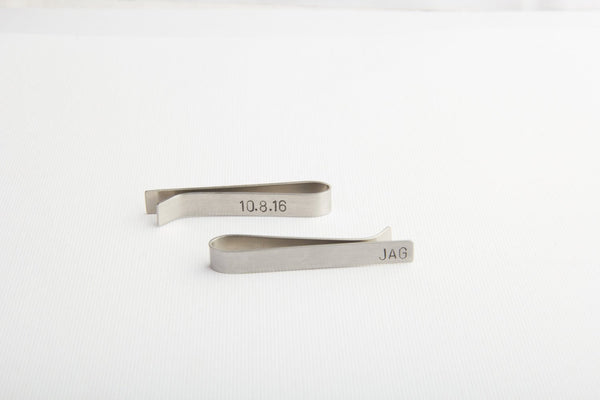 stainless steel tie clip double sided pixley pressed