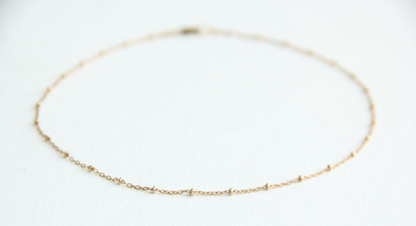 gold filled satellite chain choker pixley pressed