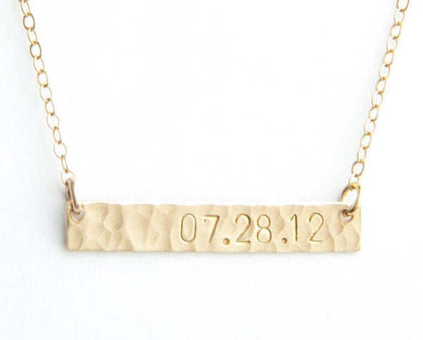 hammered bar date necklace
