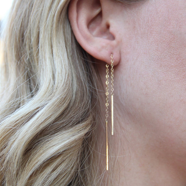 gold hanging chain earrings