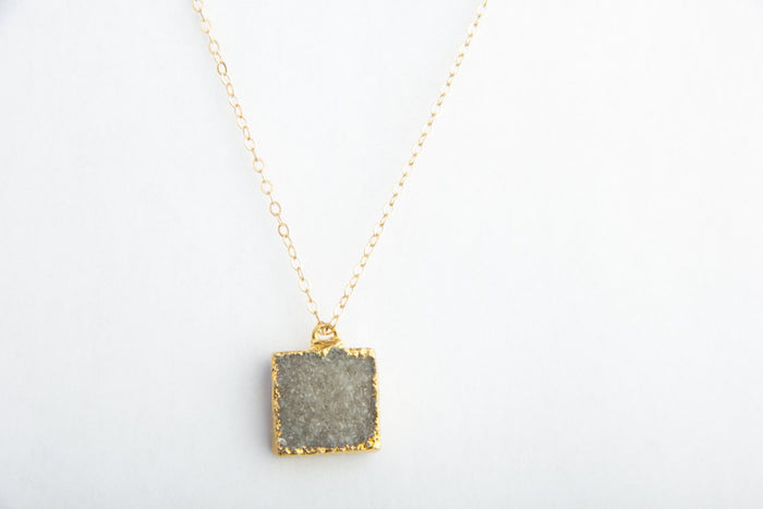 Smoky Square Druzy Crystal Necklace