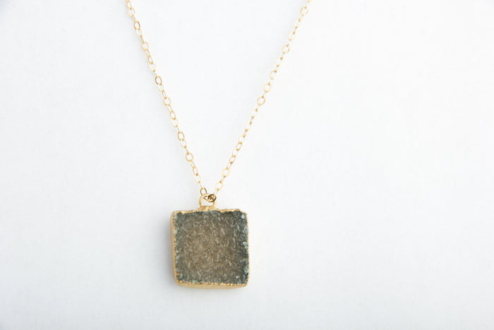 'Evergreen' Druzy Crystal Necklace
