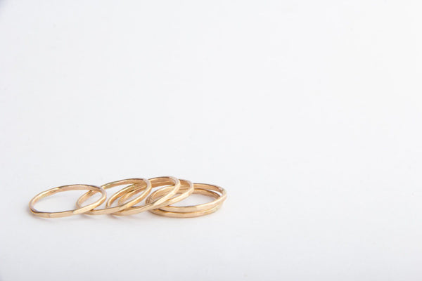 gold filled hammered stacking rings