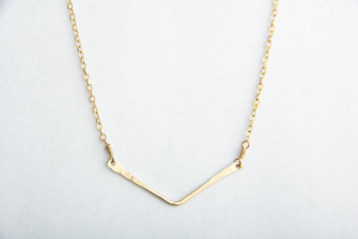 gold filled small chevron necklace pixley pressed