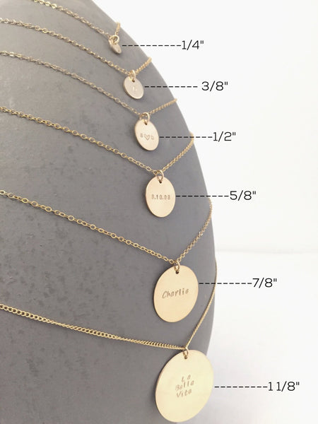 Initial Disc Necklace- 3/8""
