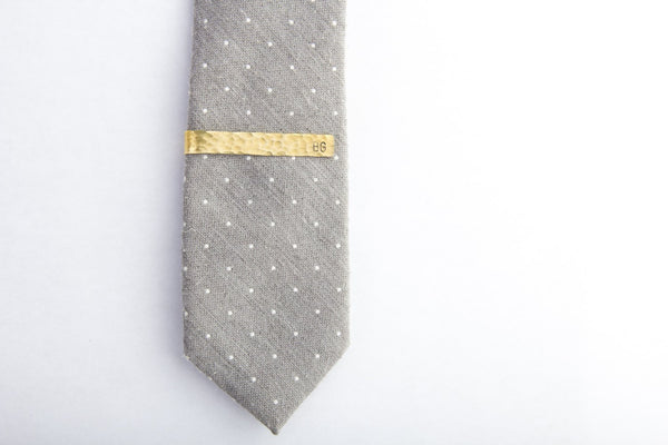 personalized hammered brass tie clip
