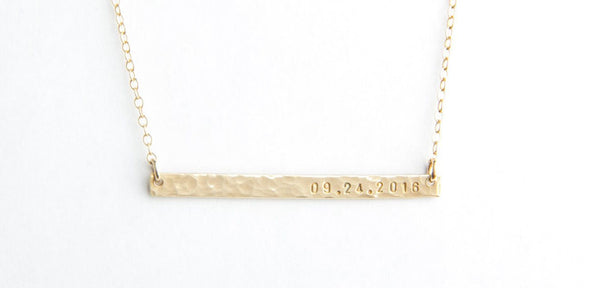 skinny hammered gold bar date necklace pixley pressed
