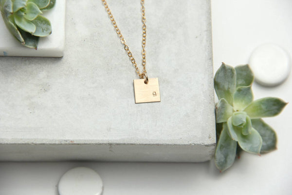 small gold square initial necklace pixley pressed