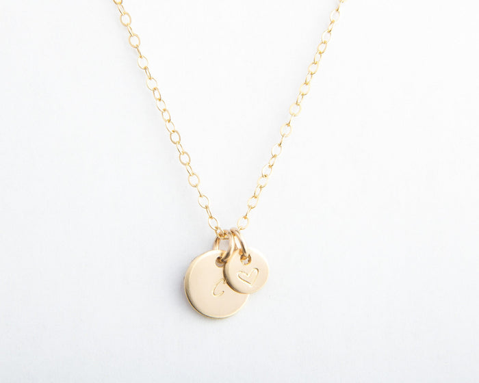 initial heart round disc gold necklace pixley pressed