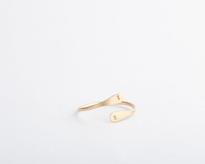 gold initial coil ring pixley pressed