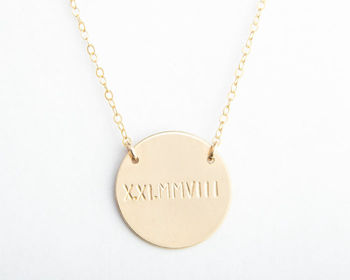 large round disc gold necklace engraved date