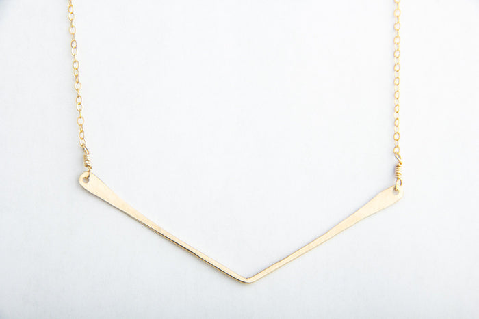 gold large chevron v necklace pixley pressed