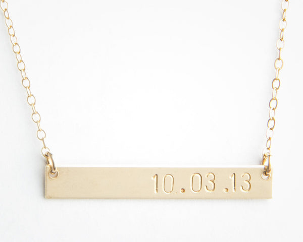 long gold bar date necklace pixley pressed