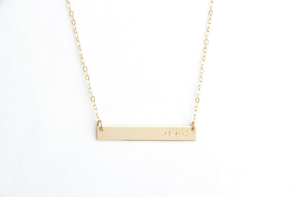 long gold bar necklace initials pixley pressed