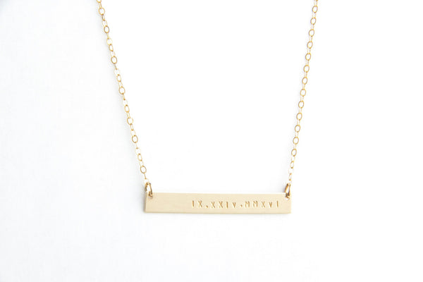 long gold bar roman numeral date necklace pixley pressed