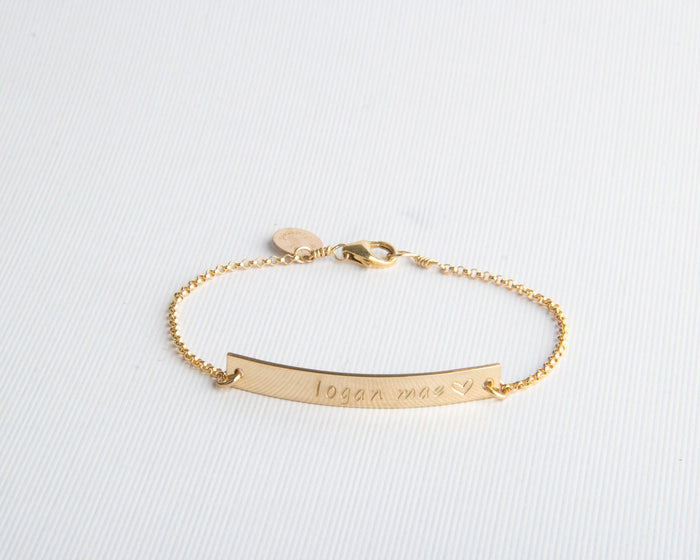 skinny gold bar bracelet pixley pressed