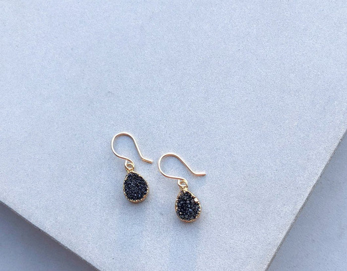 'Black as Midnight' Druzy Earrings