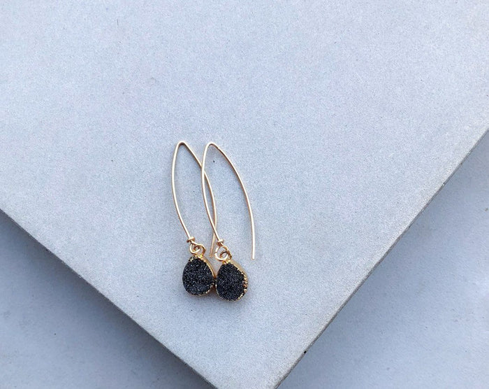 Druzy Drop Earrings- 'Midnight'