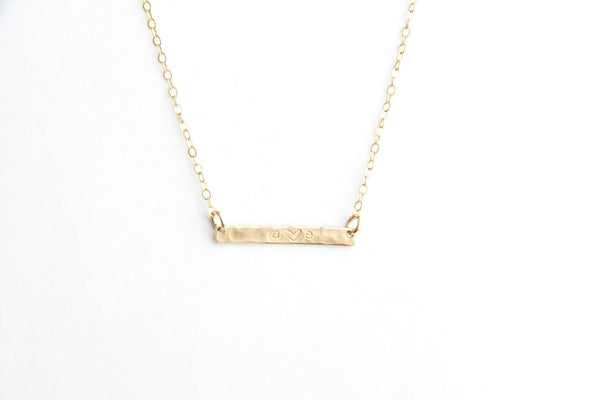 mini gold bar initial necklace