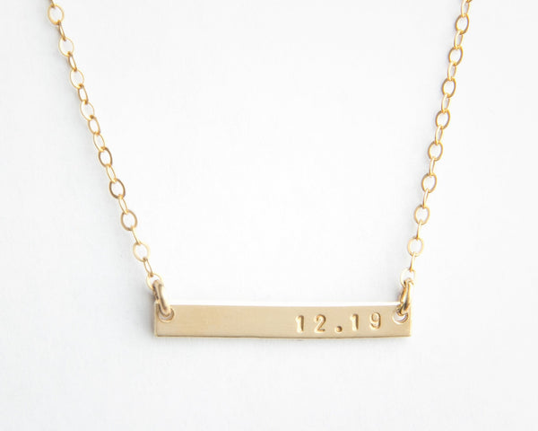 mini gold bar date necklace