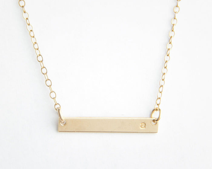 skinny mini gold bar necklace with initial