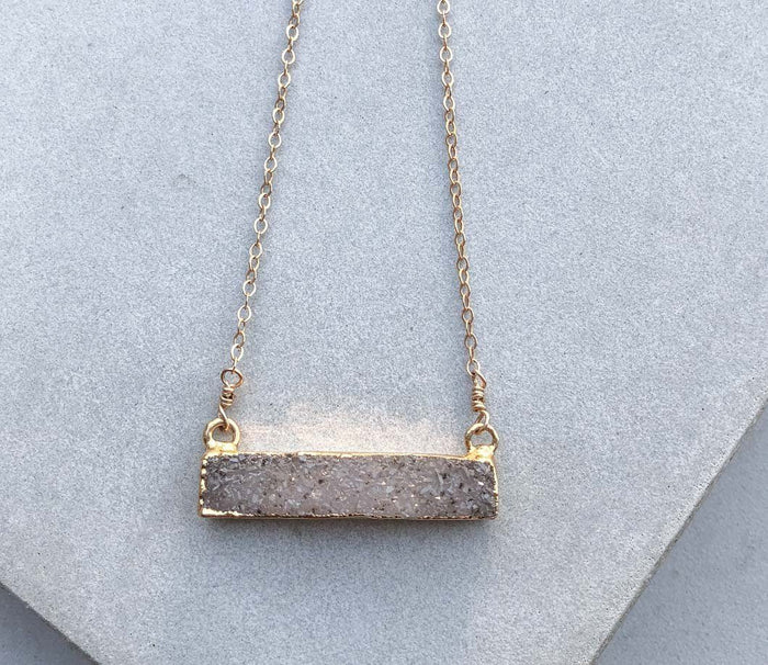 Natural Lavender Druzy Bar Necklace